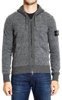 Stone Island Sweater Wool Garzata Cardigan Full Zip Hood - Lyst