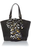 DKNY Black Medium Scarf Tote Bag - Lyst