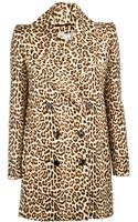 Carven Printed Wool Leopard Double Button Coat - Lyst