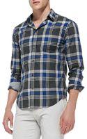 Vince Largeplaid Poplin Shirt - Lyst