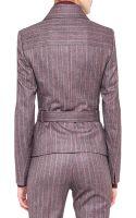 Akris Wool Flannel Pinstripe Moto Jacket - Lyst