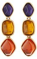 Oscar de la Renta Golden Multicolor Tripledrop Earrings - Lyst
