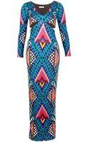 Mara Hoffman Deep V Side Cut Out Gown Bazaar Blue - Lyst