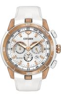 Citizen Womens Chronograph Ecodrive Ecosphere White Silicone Strap Watch 47mm 00a Victoria Azarenka Limited Edition - Lyst