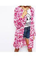 Asos Premium Hand Knitted Cardigan in Pom Pom Yarn - Lyst