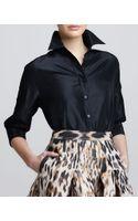 Carolina Herrera Classic Silk Taffeta Blouse Black - Lyst