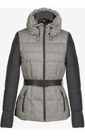 French Connection Tweed Combo Belted Puffer Jacket - Lyst