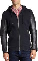 Diesel Cotton  Leather Zip-up Hoodie - Lyst
