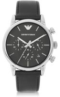 Emporio Armani Classic Chronograph Dial and Leather Strap Mens Watch - Lyst