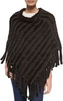 La Fiorentina Knit Mink Poncho with Tails - Lyst