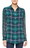 Equipment Signature Longsleeve Plaid Blouse - Lyst