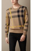 Burberry Check Cotton Blend Sweater - Lyst