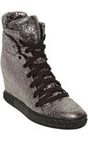 Casadei 90mm Metallic Leather Wedge Sneakers - Lyst