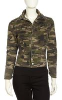 Fade To Blue Cropped Studdedcuff Camo Jacket - Lyst