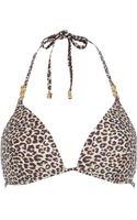 River Island Brown Leopard Print Jewel Strap Bikini Top - Lyst