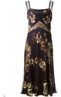 Jason Wu Black and Flower Prints Silk and Lace Long Dress - Lyst