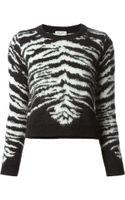 Saint Laurent Zebra Stripe Jumper - Lyst