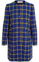Marni Checked Collarless Coat - Lyst