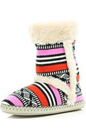 River Island Cream Navaho Print Knit Faux Fur Lined Boots - Lyst
