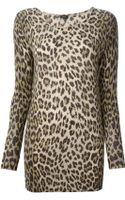 Joseph Leopard Print Long Sweater - Lyst