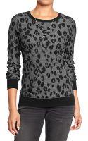 Old Navy Leopardprint Crewneck Sweaters - Lyst
