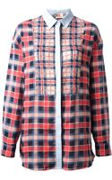 MSGM Lace Insert Checked Shirt - Lyst