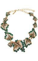 Oscar de la Renta Jewelled Leaf Necklace - Lyst