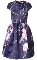 MSGM Floral-print Duchess-satin Dress - Lyst