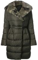 Moncler Fur Collar Padded Coat - Lyst
