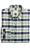 Brooks Brothers Green with Blue Bold Check Oxford Sport Shirt - Lyst