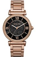Michael Kors Caitlin Rose Golden Watch with Black Dial - Lyst