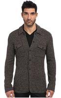 John Varvatos Raw Cut Edge Sweater Jacket W Flap Chest Pockets - Lyst