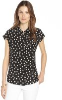 Rebecca Taylor Black and Cream Polka Dot Silk Blouse - Lyst