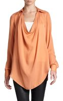 Haute Hippie Washed Silk Draped Blouse - Lyst