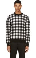 Saint Laurent Black and White Wool Check Sweater - Lyst