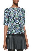 Twelfth Street Cynthia Vincent Zipback Kaleidoscope Printed Silk Top - Lyst