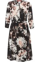 Max Mara Bird Printed Silk Dress with Belt - Lyst