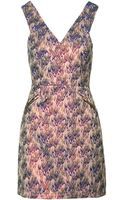 Topshop Womens Petite Flame Jacquard Shift Dress  Pink - Lyst