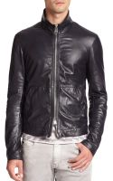Emporio Armani Leather Jacket - Lyst