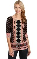 Lucky Brand Nyla Mixed Print Cinched Top - Lyst