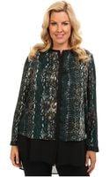 DKNY Plus Size Ls Chiffon Double Layer Button Thru Blouse - Lyst