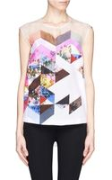 Preen By Thorton Bregazzi Yumi Contrast Texture Floral Collage Print Sleeveless Blouse - Lyst