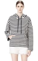 Alexander Wang Striped French Terry Hooded Sweatshirt - Lyst
