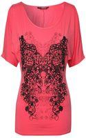 Jane Norman Split Sleeve Printed Top - Lyst