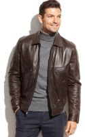Michael Kors Michael Welby Shirtcollar Leather Jacket - Lyst