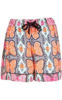Sea Butterfly Print Silk Shorts - Lyst