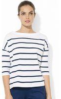 Lauren by Ralph Lauren Dropped Shoulder Stripe Top - Lyst