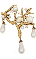 Oscar de la Renta Coral Gold-plated Crystal and Faux Pearl Brooch - Lyst