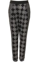 Topshop Womens Floral Grid Jersey Tapered Trousers Monochrome - Lyst