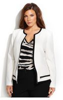 Calvin Klein Plus Size Contrast-trim Peplum Jacket - Lyst